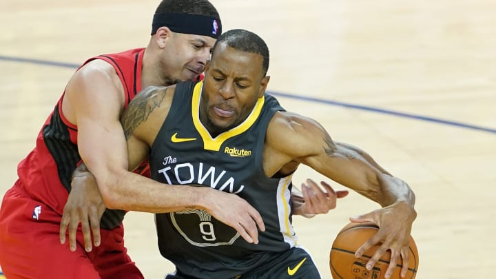 OAKLAND, CALIFORNIA - MAY 16: Andre Iguodala #9 of the Golden State Warriors drives with the ball against Seth Curry #31 of the Portland Trail Blazers in game two of the NBA Western Conference Finals at ORACLE Arena on May 16, 2019 in Oakland, California. NOTE TO USER: User expressly acknowledges and agrees that, by downloading and or using this photograph, User is consenting to the terms and conditions of the Getty Images License Agreement. (Photo by Thearon W. Henderson/Getty Images)