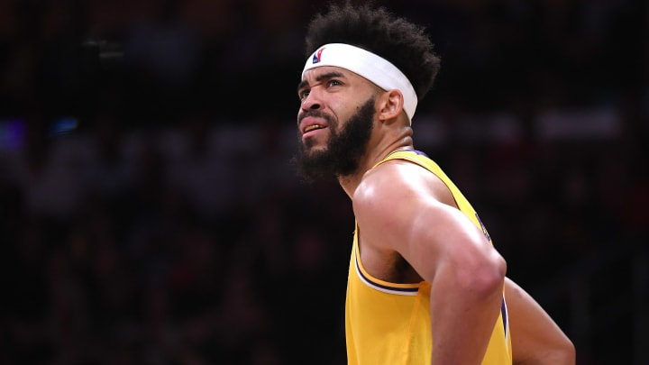 LOS ANGELES, CALIFORNIA - APRIL 09:  JaVale McGee #7 of the Los Angeles Lakers reacts to his foul during a 104-101 loss to the Portland Trail Blazers at Staples Center on April 09, 2019 in Los Angeles, California. (Photo by Harry How/Getty Images)  NOTE TO USER: User expressly acknowledges and agrees that, by downloading and or using this photograph, User is consenting to the terms and conditions of the Getty Images License Agreement.