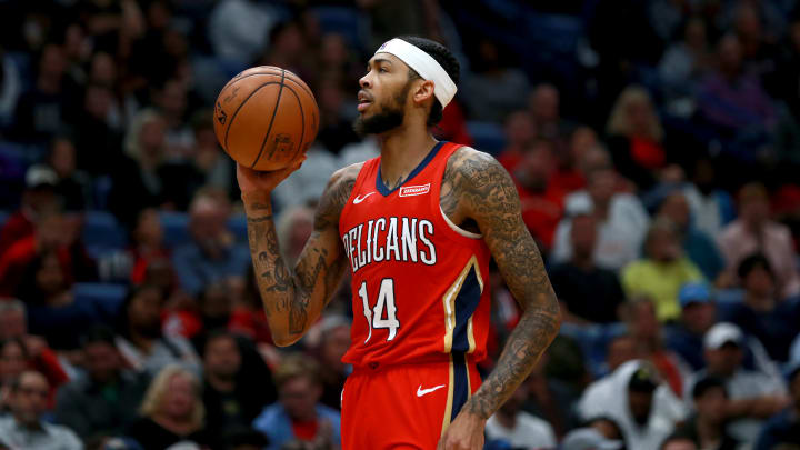 NEW ORLEANS, LOUISIANA - NOVEMBER 19: Brandon Ingram #14 of the New Orleans Pelicans stands on the court during a NBA game against the Portland Trail Blazers at the Smoothie King Center on November 19, 2019 in New Orleans, Louisiana. NOTE TO USER: User expressly acknowledges and agrees that, by downloading and/or using this photograph, user is consenting to the terms and conditions of the Getty Images License Agreement. (Photo by Sean Gardner/Getty Images)