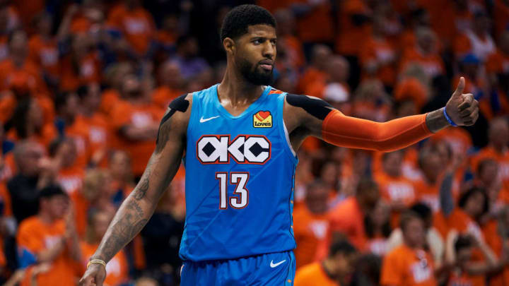 OKLAHOMA CITY, OKLAHOMA - APRIL 19: Paul George #13 of the Oklahoma City Thunder looks on against the Portland Trail Blazers during the second half of game three of the Western Conference quarterfinals at Chesapeake Energy Arena on April 19, 2019 in Oklahoma City, Oklahoma. NOTE TO USER: User expressly acknowledges and agrees that, by downloading and or using this photograph, User is consenting to the terms and conditions of the Getty Images License Agreement.  (Photo by Cooper Neill/Getty Images)