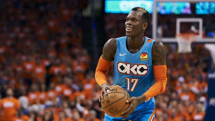 OKLAHOMA CITY, OKLAHOMA - APRIL 19: Dennis Schroder #17 of the Oklahoma City Thunder brings the ball up court against the Portland Trail Blazers during game three of the Western Conference quarterfinals at Chesapeake Energy Arena on April 19, 2019 in Oklahoma City, Oklahoma. NOTE TO USER: User expressly acknowledges and agrees that, by downloading and or using this photograph, User is consenting to the terms and conditions of the Getty Images License Agreement.  (Photo by Cooper Neill/Getty Images)