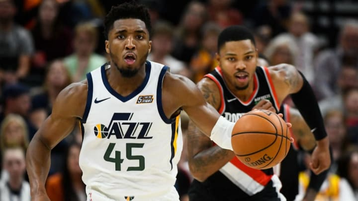 SALT LAKE CITY, UT - OCTOBER 16: Donovan Mitchell #45 of the Utah Jazz drives during a preseason game against the Portland Trail Blazers at Vivint Smart Home Arena on October 16, 2019 in Salt Lake City, Utah. NOTE TO USER: User expressly acknowledges and agrees that, by downloading and or using this photograph, User is consenting to the terms and conditions of the Getty Images License Agreement.  (Photo by Alex Goodlett/Getty Images)