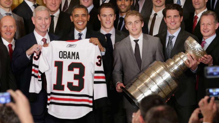 Barack Obama, Jay Blunk, Jonathan Woews, Patrick Kane, Patrick Sharp, Mike Kitchen, John McDonough
