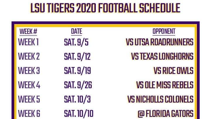 Printable Lsu Football Schedule 2020