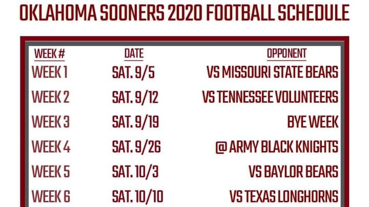 Printable Oklahoma Football Schedule 2020