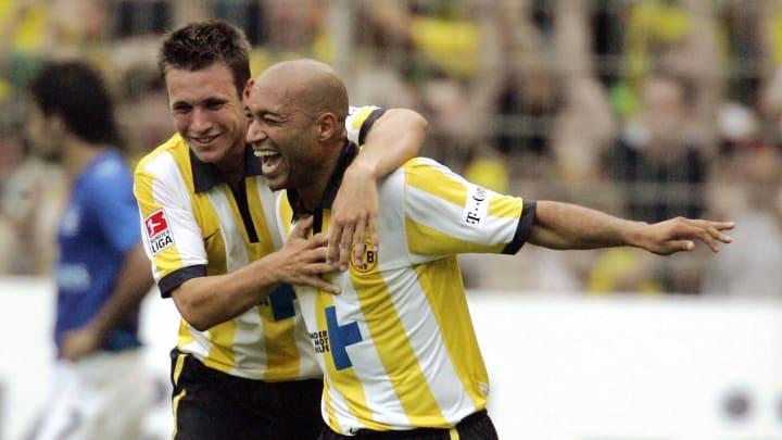 BVB-Eigengewächs Marc-Andre Kruska mit Legende Dede (r.)