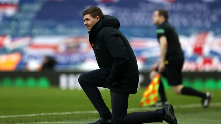 Rangers boss Steven Gerrard takes the knee in solidarity with BLM