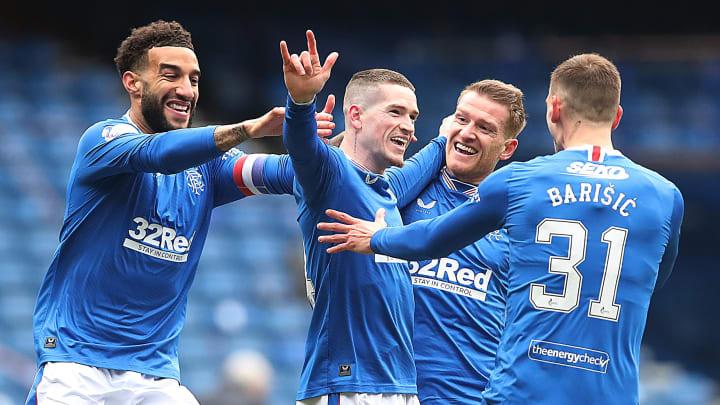 Ryan Kent celebrates after scoring Rangers' opener against St Mirren