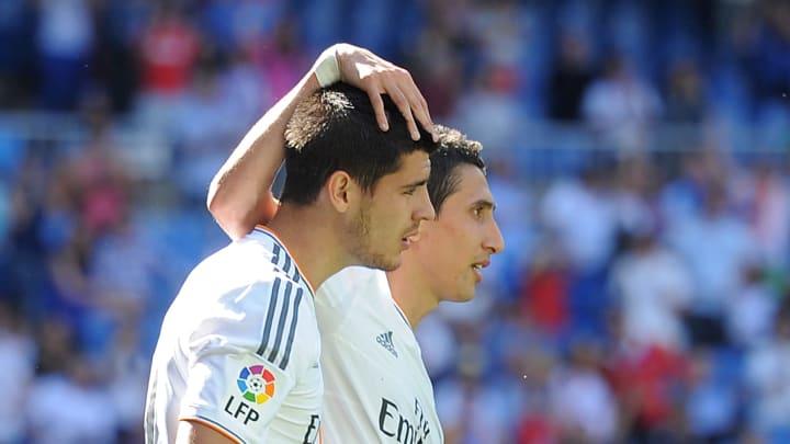 Morata y di María en un partido con el Real Madrid