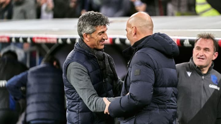 Real Sociedad manager Imanol Alguacil and Real Madrid boss Zinedine Zidane.