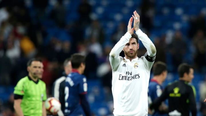 MADRID, SPAIN - MARCH 31: Sergio Ramos of Real Madrid applauds fans after the match during the La Liga match between Real Madrid CF and SD Huesca at Estadio Santiago Bernabeu on March 31, 2019 in Madrid, Spain. (Photo by Gonzalo Arroyo Moreno/Getty Images)