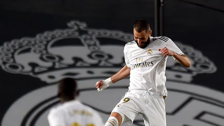 Karim Benzema celebrates after scoring a goal for Real Madrid CF against Valencia CF  - La Liga