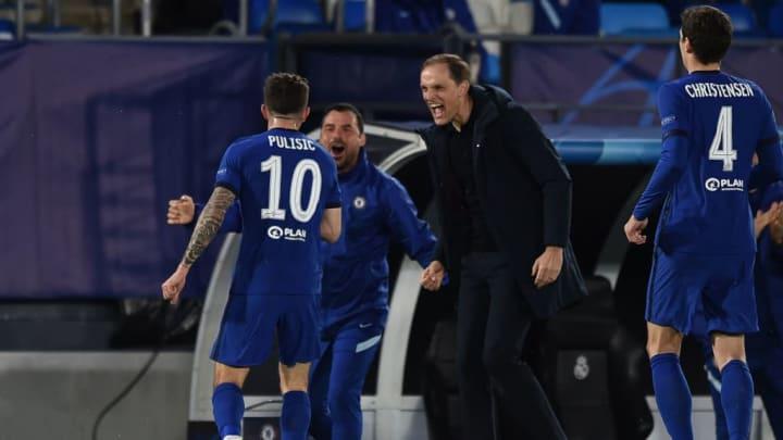 Chelsea manager Thomas Tuchel celebrates with Christian Pulisic