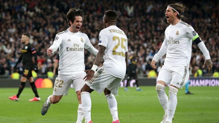 Los futbolistas del Real Madrid festejan el único gol que le lograron marcar al Manchester City