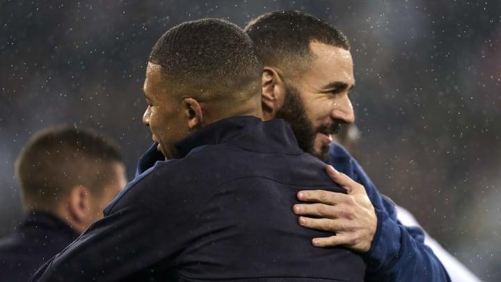 Kylian Mbappé et Karim Benzema lors de PSG-Real Madrid en Ligue des Champions.