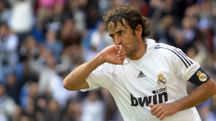 Real Madrid's Raul Gonzalez celebrates a