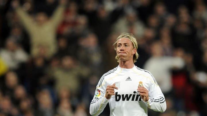 Real Madrid's midfielder Guti reacts dur
