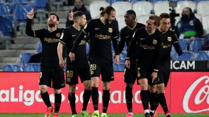 Antoine Griezmann Jordi Alba Lionel Messi Oscar Mingueza LaLiga