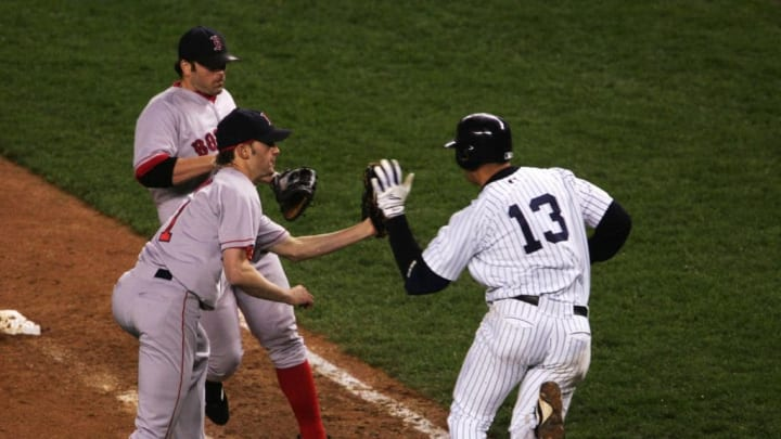 A-Rod swats the ball out of Bronson Arroyo's hand in the 2004 ALCS