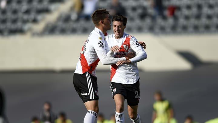 River Plate v Aldosivi - Copa de la Liga Profesional 2021 - José Paradela festeja su gol, luego de los reproches de Gallardo.
