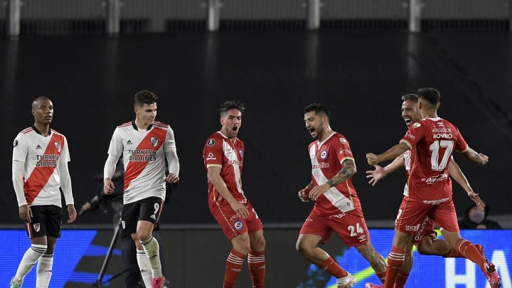 River Plate v Argentinos Juniors - Copa CONMEBOL Libertadores 2021 - Hauche grita su gol.
