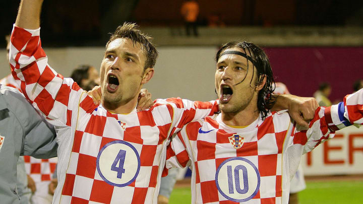 Robert (L) and Niko Kovac of Croatia cel