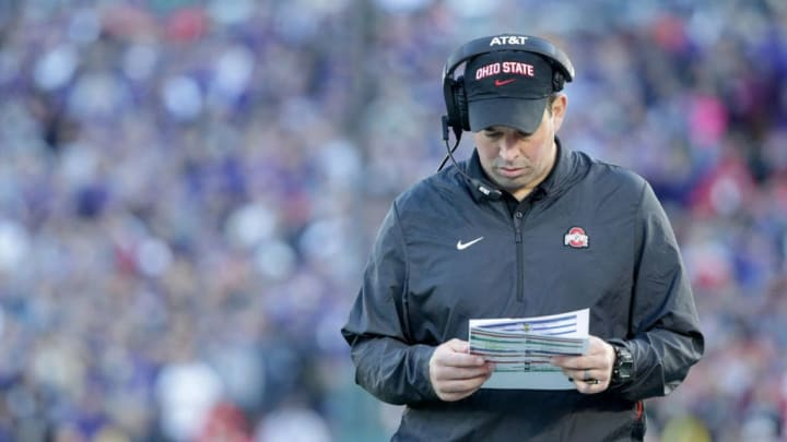 PASADENA, CA - JANUARY 01:  Ohio State Buckeyes offensive coordinator Ryan Day looks at notes during the Rose Bowl Game presented by Northwestern Mutual at the Rose Bowl on January 1, 2019 in Pasadena, California.  (Photo by Jeff Gross/Getty Images)