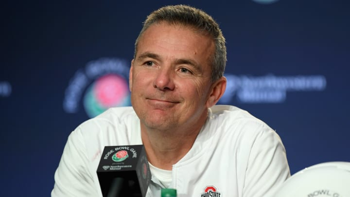 PASADENA, CA - JANUARY 01:  Ohio State Buckeyes head coach Urban Meyer speaks to the media after the Rose Bowl Game presented by Northwestern Mutual at the Rose Bowl on January 1, 2019 in Pasadena, California.  (Photo by Harry How/Getty Images)