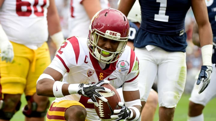 USC football star Adoree' Jackson supports USC basketball.
