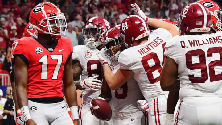 ATLANTA, GA - DECEMBER 01:  Josh Jacobs #8 of the Alabama Crimson Tide celebrates with teammates after scoring a touchdown in the second quarter against the Georgia Bulldogs during the 2018 SEC Championship Game at Mercedes-Benz Stadium on December 1, 2018 in Atlanta, Georgia.  (Photo by Scott Cunningham/Getty Images)