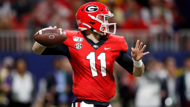 Jake Fromm attempts a pass in the 2019 SEC Championship Game against LSU.