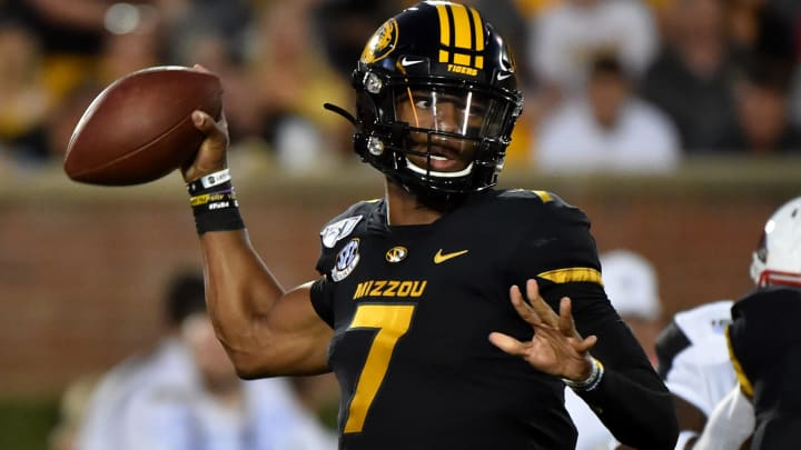 COLUMBIA, MISSOURI - SEPTEMBER 14:  Quarterback Kelly Bryant #7 of the Missouri Tigers passes against the Southeast Missouri State Redhawks during the second half at Faurot Field/Memorial Stadium on September 14, 2019 in Columbia, Missouri. (Photo by Ed Zurga/Getty Images)