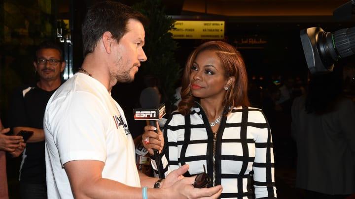 Josina Anderson interviewing Mark Wahlberg.
