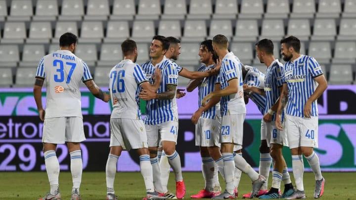 SPAL celebrate Sergio Floccari's goal against Milan