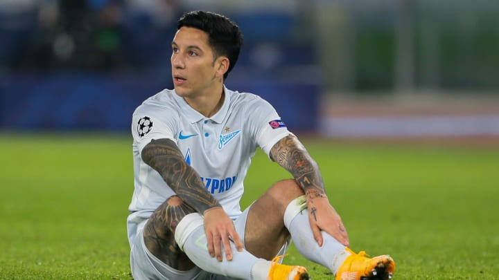 Sebastian Driussi playing for  Zenit St. Petersburg in the UEFA Champions League
