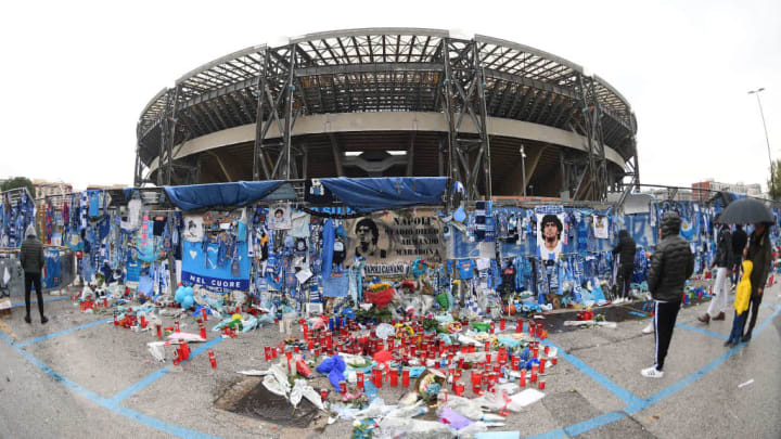 Stadio San Paolo in the aftermath of Maradona's death