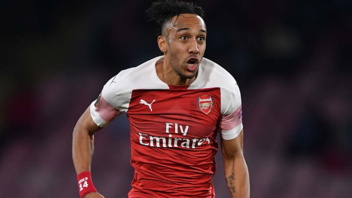 NAPLES, ITALY - APRIL 18: Pierre-Emerick Aubameyang of Arsenal in action during the UEFA Europa League Quarter Final Second Leg match between S.S.C. Napoli and Arsenal at  Stadio San Paolo on April 18, 2019 in Naples, Italy. (Photo by Stuart Franklin/Getty Images)