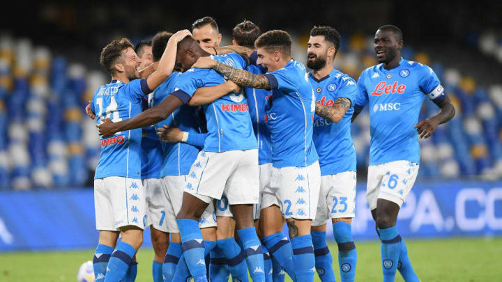Napoli players celebrate during their victory over Genoa