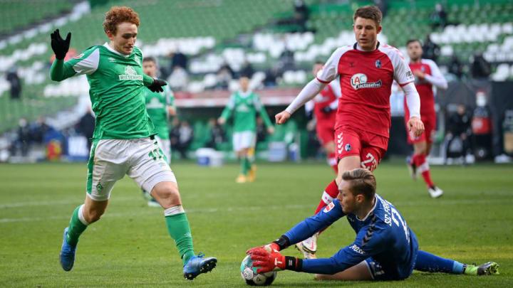Gegen Werder Bremen hielt Freiburgs Florian Müller den Kasten sauber