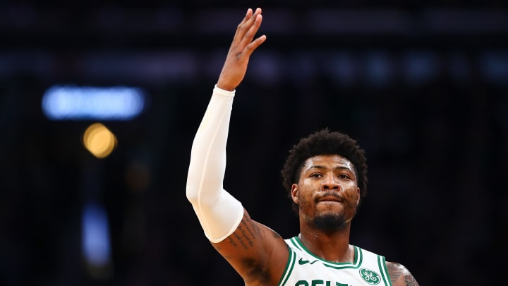 BOSTON, MA - NOVEMBER 25:  Marcus Smart #36 of the Boston Celtics reacts during a game against the Sacramento Kings at TD Garden on November 25, 2019 in Boston, Massachusetts. NOTE TO USER: User expressly acknowledges and agrees that, by downloading and or using this photograph, User is consenting to the terms and conditions of the Getty Images License Agreement. (Photo by Adam Glanzman/Getty Images)