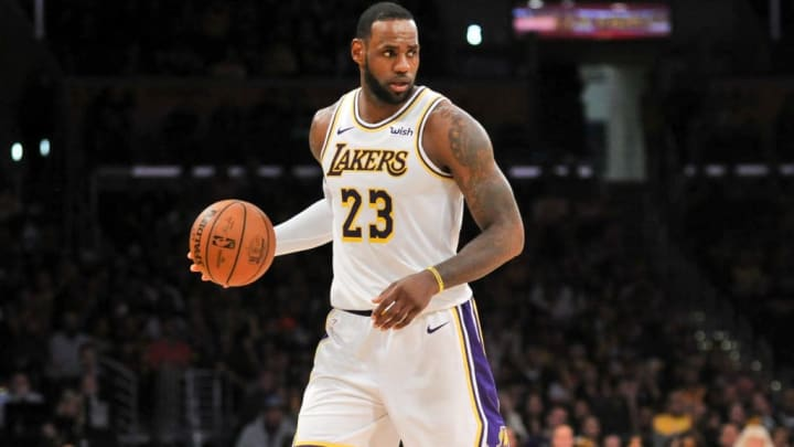 LOS ANGELES, CALIFORNIA - MARCH 24: LeBron James #23 of the Los Angeles Lakers dribbles the ball during a game against the Sacramento Kings at Staples Center on March 24, 2019 in Los Angeles, California. NOTE TO USER: User expressly acknowledges and agrees that, by downloading and or using this photograph, User is consenting to the terms and conditions of the Getty Images License Agreement. (Photo by Allen Berezovsky/Getty Images,)