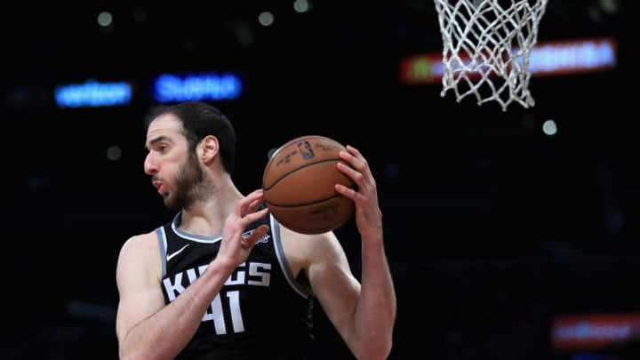 LOS ANGELES, CA - JANUARY 09:  Kosta Koufos #41 of the Sacramento Kings rebounds during the second half of a game against the Los Angeles Lakers  at Staples Center on January 9, 2018 in Los Angeles, California.   NOTE TO USER: User expressly acknowledges and agrees that, by downloading and or using this photograph, User is consenting to the terms and conditions of the Getty Images License Agreement.  (Photo by Sean M. Haffey/Getty Images)