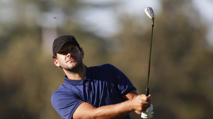 NAPA, CALIFORNIA - SEPTEMBER 26: Tony Romo hits on the 10th hole during the first round of the Safeway Open at Silverado Resort on September 26, 2019 in Napa, California. (Photo by Jonathan Ferrey/Getty Images)