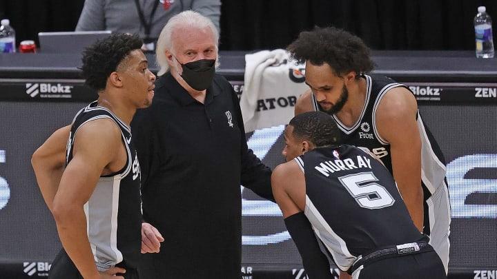 San Antonio Spurs Keldon Johnson, Dejounte Murray, Derrick White