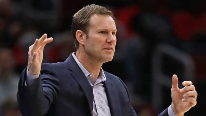CHICAGO, ILLINOIS - NOVEMBER 26: Head coach Fred Hoiberg of the Chicago Bulls signals to his team against the San Antonio Spurs at the United Center on November 26, 2018 in Chicago, Illinois. The Spurs defeated the Bulls 108-107. NOTE TO USER: User expressly acknowledges and agrees that, by downloading and or using this photograph, User is consenting to the terms and conditions of the Getty Images License Agreement. (Photo by Jonathan Daniel/Getty Images)
