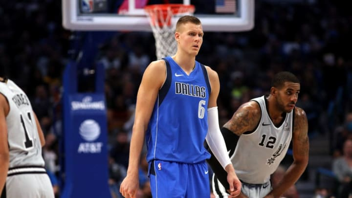 DALLAS, TEXAS - NOVEMBER 18:  Kristaps Porzingis #6 of the Dallas Mavericks at American Airlines Center on November 18, 2019 in Dallas, Texas.  NOTE TO USER: User expressly acknowledges and agrees that, by downloading and or using this photograph, User is consenting to the terms and conditions of the Getty Images License Agreement. (Photo by Ronald Martinez/Getty Images)