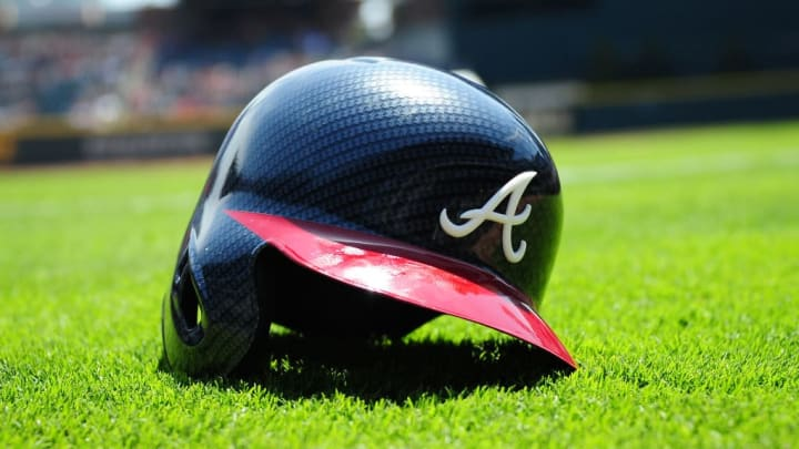 ATLANTA, GA - APRIL 16: The Atlanta Braves new carbon fiber pattern helmet is on display before the game against the San Diego Padres at SunTrust Park on April 16, 2017 in Atlanta, Georgia. (Photo by Scott Cunningham/Getty Images)