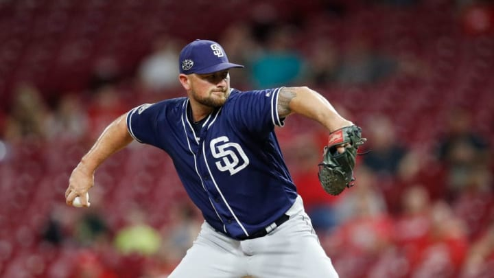 CINCINNATI, OH - AUGUST 19: Kirby Yates #39 of the San Diego Padres pitches in the ninth inning against the Cincinnati Reds at Great American Ball Park on August 19, 2019 in Cincinnati, Ohio. The Padres defeated the Reds 3-2. (Photo by Joe Robbins/Getty Images)