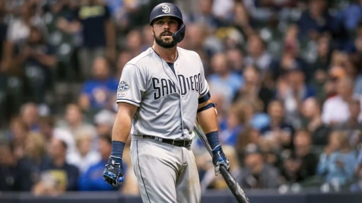 MILWAUKEE, WISCONSIN - SEPTEMBER 16:  Austin Hedges #18 of the San Diego Padres walks back to the dugout after striking out in the seventh inning against the Milwaukee Brewers at Miller Park on September 16, 2019 in Milwaukee, Wisconsin. (Photo by Dylan Buell/Getty Images)