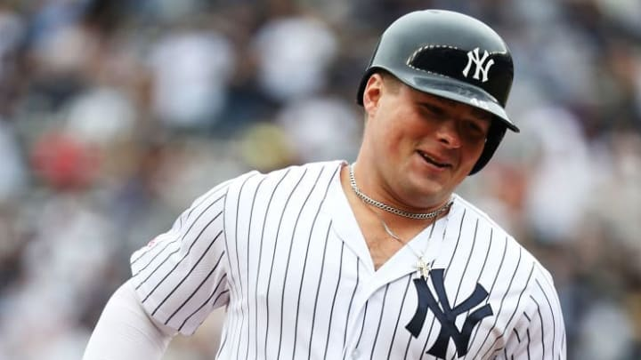 NEW YORK, NEW YORK - MAY 29:  Luke Voit #45 of the New York Yankees rounds the bases after his first inning home run against Chris Paddack #59 of the San Diego Padres during their game at Yankee Stadium on May 29, 2019 in New York City. (Photo by Al Bello/Getty Images)